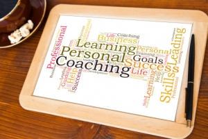 blackboard with personal coaching word cloud
